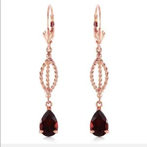 Jewelry - 3 Ct 14K Solid Rose Gold Garnet Dangling Earring